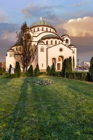 the Temple of Saint Sava exterior at dusk photo