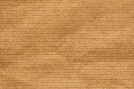 coarse: Photograph of recycle brown kraft striped paper coarse grain, crumpled grunge texture sample Stock Photo