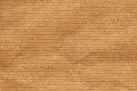 kraft: Photograph of recycle brown kraft striped paper coarse grain, crumpled grunge texture sample Stock Photo