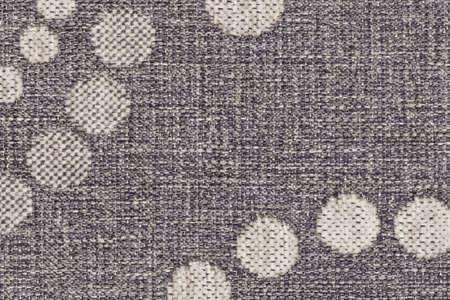 acrylic fiber: Photograph of light Gray woven Acrylic-Polyethylene upholstery and drapery fabric, with decorative circular pattern ? detail.
