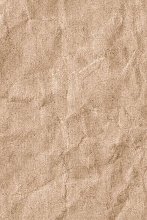 Photograph of Beige Striped Recycle Kraft Paper, extra coarse grain, crumpled grunge texture samp photo