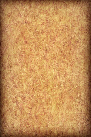 vellum: Photograph of old, Yellow-ocher animal skin parchment, coarse grained, vignette grunge texture.