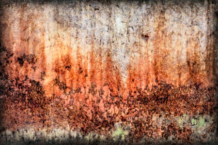 Old, obsolete, badly corroded river raft hut floater metal surface, covered with cracked decomposed layers of paint and rust, vignette grunge texture. photo