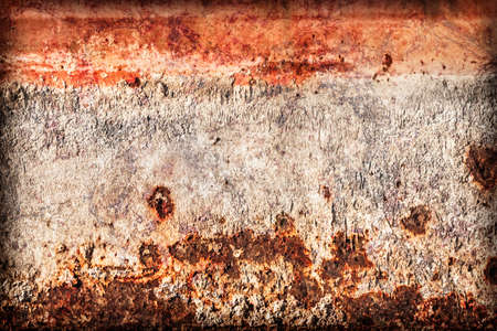 floater: Old, obsolete, badly corroded river raft hut floater metal surface, covered with cracked decomposed layers of tar, paint and rust, vignette grunge texture.