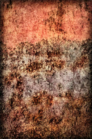 entropy: Old, obsolete, badly corroded river raft hut floater metal surface, covered with layer of cement roughcast, cracked decomposed red paint and rust, vignette grunge texture.