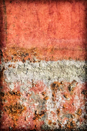 floater: Old, obsolete, badly corroded river raft hut floater metal surface, covered with layer of cement roughcast, cracked decomposed red paint and rust, vignette grunge texture.