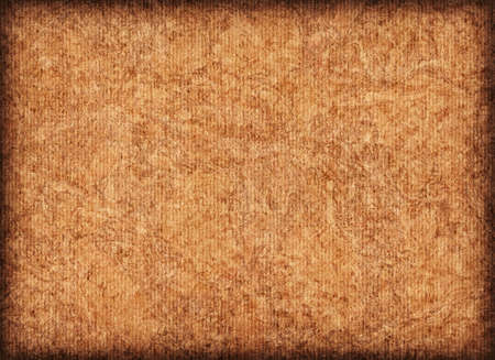 mottled: Scanned image of Corrugated Striped, Recycle Cardboard, rough, coarse grain, bleached, mottled, vignette grunge texture sample.