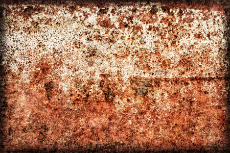 entropy: Old, scrapped, badly corroded river raft hut floater metal surface, covered with cracked decomposed layers of paint and rust vignette texture.