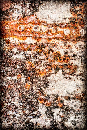 entropy: Old, scrapped, badly corroded river raft hut floater riveted metal surface, covered with cracked decomposed layers of tar, paint and rust vignette texture. Stock Photo