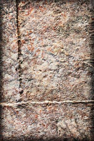 decomposed: Viejo, desechado, muy corro�dos balsa r�o caba�a flotante soldado superficie de metal, cubierto con capas descompuestas de pintura y �xido vi�eta textura.