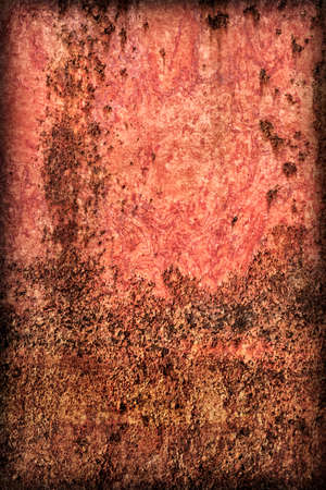 Old, scrapped, badly corroded river raft hut floater metal surface, covered with cracked decomposed layers of paint and rust, vignette texture.