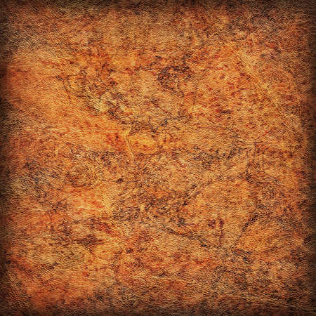 epithelium: Photograph of old Brown Cowhide, weathered, rough, creased, coarse grained, exfoliated, blotted, mottled, vignette grunge leather texture.