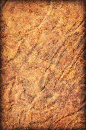 impurities: Photograph of old Recycle Kraft Brown Paper, coarse grain, crushed crumpled, mottled, vignette grunge texture sample.