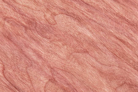 brownish: Natural Cherry Wood Brownish Red Veneer, bleached, stained grunge texture sample. Stock Photo