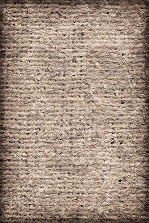 unrefined: Artist Jute raw Canvas, unrefined, non caulked, unsealed, single Acrylic primed, extra coarse, bleached, mottled, vignette grunge texture sample. Stock Photo
