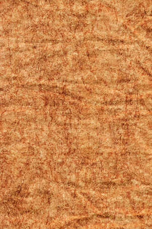 impurities: Photograph of old Recycle Kraft Brown Paper, coarse grain, crushed crumpled, bleached, mottled, grunge texture sample.