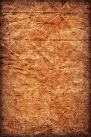impurities: Photograph of old Recycle Kraft Brown Paper, coarse grain, crushed crumpled, stained, mottled, vignette grunge texture sample.
