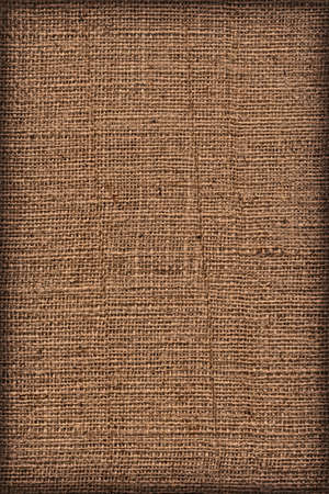 roughly: Photograph of raw, roughly woven, extra coarse grain, burlap vignette grunge texture.