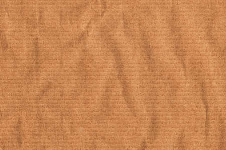Recycle Striped Brown Kraft Paper, coarse grain, crushed, crumpled, grunge texture sample.