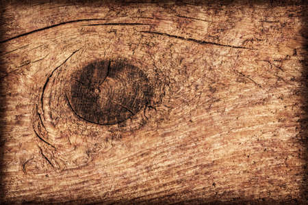 treated: Photograph of old, roughly treated, weathered, cracked, knotted Pine plank, vignette grunge texture. Stock Photo