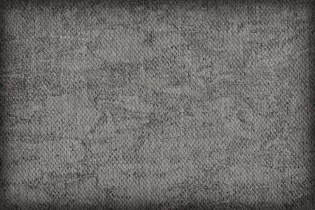 mottled: Photograph of Artist Dark Gray Primed Cotton Duck Canvas coarse, bleached, mottled, vignette grunge texture. Stock Photo