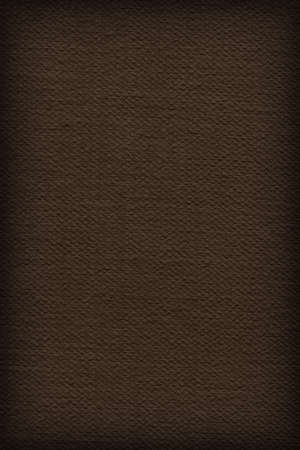 mottled background: Photograph of Artist Raw Umber Primed Cotton Duck Canvas coarse, vignette grunge texture. Stock Photo