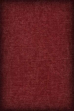 mottled: Photograph of Artist Wine Red Primed Cotton Duck Canvas coarse, bleached, mottled, vignette grunge texture.
