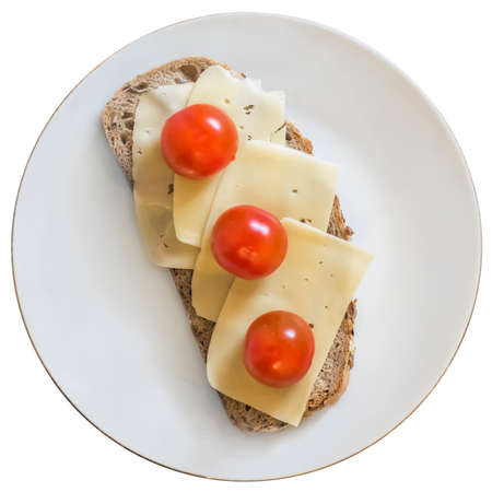 edam: White Porcelain Plate, with Sandwich made of three fresh ripe juicy Tomatoes and Edam Cheese Slices. The main image subject is Isolated on White Background, and supported with Precise Clipping Path. Stock Photo