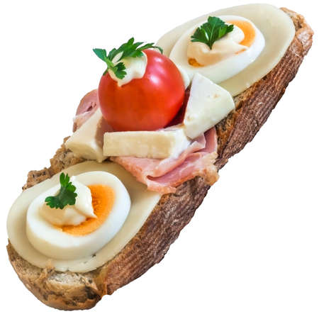 vegetable carbon: Toast Sandwich with Ham, Edam and White cow cheese, hard boiled Egg slices, Cherry Tomato, Mayonnaise and Parsley leaves, isolated on White Background. Stock Photo