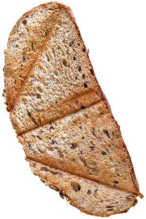 twice: Slice of Toasted Integral Brown Bread, isolated on White Background.