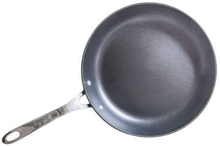 heavy duty: Old heavy duty Teflon Frying Pan Isolated on White Background.