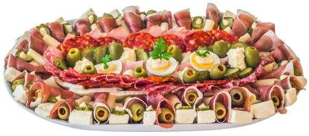 nosh: Plateful of Serbian Savoury Appetizer Meze Isolated on White Background.