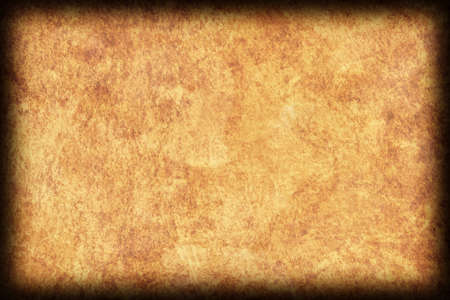 Old Natural Ocher-brown Animal Skin Parchment, Coarse, Vignette, Grunge Texture Sample. Stock Photo