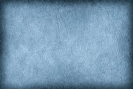 parchment texture: Photograph of old Blue animal skin parchment, creased, coarse, vignette grunge texture sample. Stock Photo