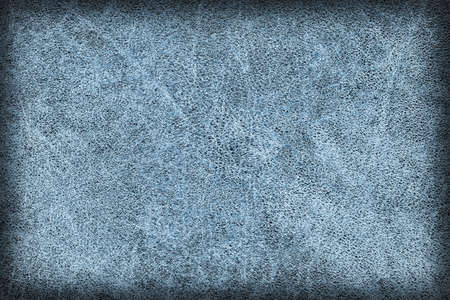 cowhide: Photograph of Old, Dark Blue Cowhide, Weathered, Coarse, Creased, Exfoliated, Cracked, Vignette Grunge Texture Sample. Stock Photo