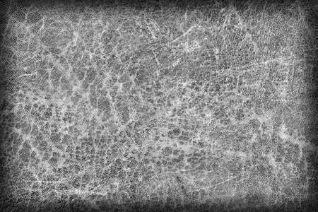 dilapidation: Photograph of Old, Dark Gray Cowhide, Weathered, Coarse, Creased, Exfoliated, Cracked, Vignette Grunge Texture Sample. Stock Photo