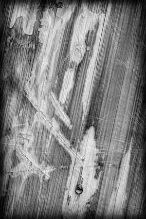 drilled: Photograph of obsolete old, weathered, varnished Wooden Laminated Panel, BW, cracked, scratched, vignette grunge texture.