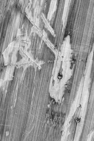 obsolete: Photograph of obsolete old, weathered, varnished Wooden Laminated Panel, BW, cracked, scratched, grunge texture. Stock Photo