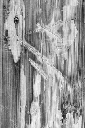 bw: Photograph of obsolete old, weathered, varnished Wooden Laminated Panel, BW, cracked, scratched, grunge texture. Stock Photo