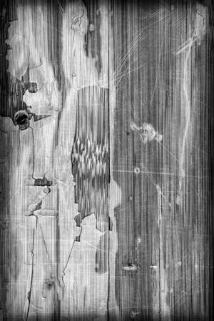 weathered wood: Photograph of obsolete old, weathered, varnished Wooden Laminated Panel, BW, cracked, scratched, vignette grunge texture.