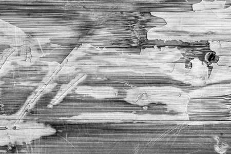 discolored: Photograph of obsolete old, weathered, varnished Wooden Laminated Panel, BW, cracked, scratched, grunge texture. Stock Photo