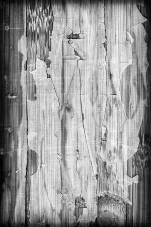 bw: Photograph of obsolete old, weathered, varnished Wooden Laminated Panel, BW, cracked, scratched, vignette grunge texture.