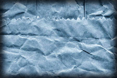 grocery bag: Coarse Recycle Blue Kraft Paper Grocery Bag, Stained, Crushed, Crumpled, Vignette Grunge Texture Detail.