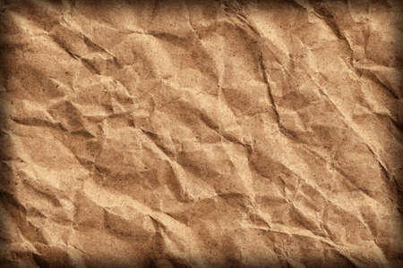 sac �picerie: Coarse Recycle Brown Paper Grocery Bag, Stained, Crushed, Crumpled, Vignette Grunge Texture Detail.