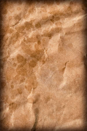 grocery bag: Coarse Recycle Brown Paper Grocery Bag, Stained, Crushed, Crumpled, Vignette Grunge Texture Detail.