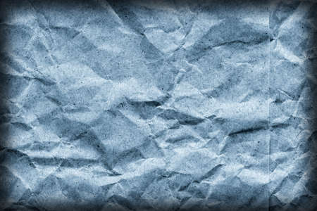 impurities: Coarse Recycle Blue Kraft Paper Grocery Bag, Stained, Crushed, Crumpled, Vignette Grunge Texture Detail.