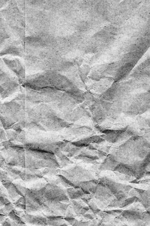 sac �picerie: Coarse Recycle Gray Kraft Paper Grocery Bag, Stained, Crushed, Crumpled, Grunge Texture Detail. Banque d'images