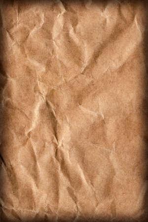 bolsa supermercado: Grueso de reciclaje del papel de Brown Bolso de ultramarinos, Manchado, Aplastado, arrugado, Detalle Vi�eta Grunge textura.
