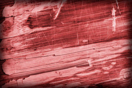 drilled: Old Red Stained Varnished Wooden Laminated Panel, Weathered, Cracked, Scratched Vignette Grunge Texture.