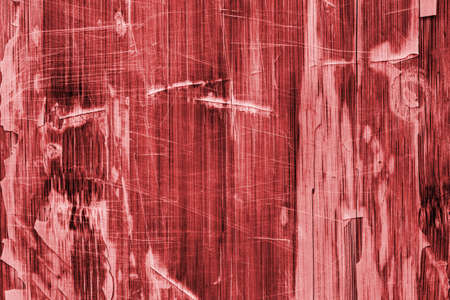 drilled: Old Red Stained Varnished Wooden Laminated Panel, Weathered, Cracked, Scratched Grunge Texture.